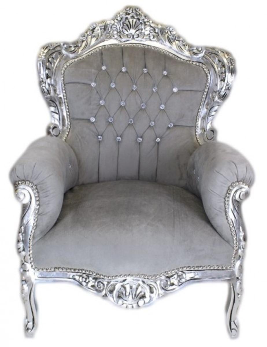 Casa Padrino Barock Sessel King Grau Silber m Bling Bling Glitzersteinen Sessel Barock Sessel