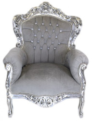 Casa Padrino Baroque Armchair King Grey / Silver with Bling Bling diamante