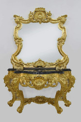 Casa Padrino baroque mirror console with marble plate gold black 120 x H. 220 cm