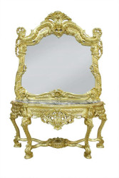 Casa Padrino baroque mirror console with marble plate gold black - Noble & Sumptuous