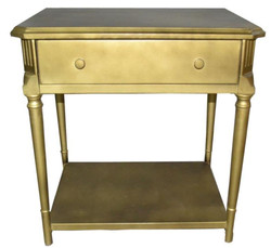Casa Padrino art deco luxury bedside table with drawer gold - Antique Style Side Table - night console table
