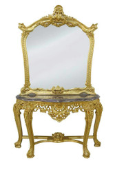 Casa Padrino luxury mirror console with marble plate - Baroque Mirror Console