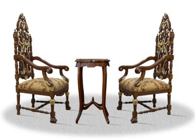 Casa padrino barocco sedia trono set con tavolino luxury edition