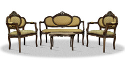 Casa Padrino baroque salon set with seat bench 2 chairs and table - Hotel Furniture