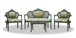 Casa Padrino baroque salon set with seat bench 2 chairs and table - Limited Edition