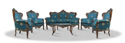 Casa Padrino baroque sofa set 3 seat sofa 4 armchairs and table with glass top - Antique Furniture