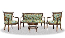 Casa Padrino baroque salon set antique brown blue with floral pattern - Luxury Collection