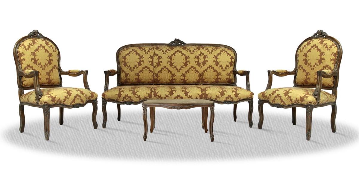 casa padrino barock salon set mit sitzbank 2 st hlen und tisch antik stil hotel m bel dekoration. Black Bedroom Furniture Sets. Home Design Ideas