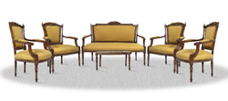 Casa Padrino baroque salon set with seat bench 4 chairs and table - Baroque Salon Furniture