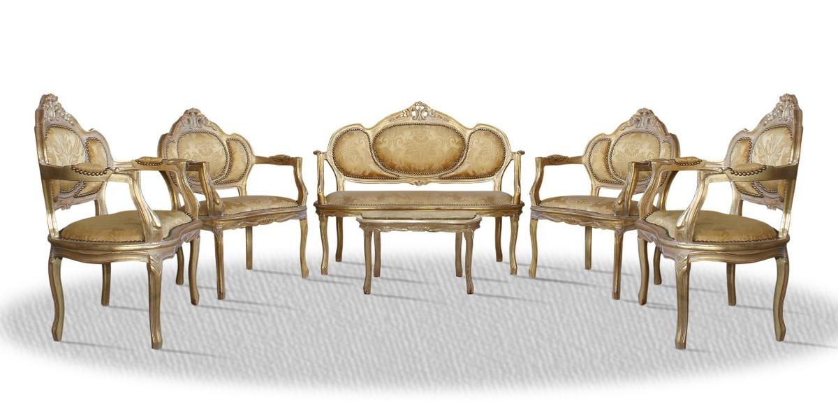 Casa Padrino Barock Salon Set Vintage Gold - Luxus Edition 1