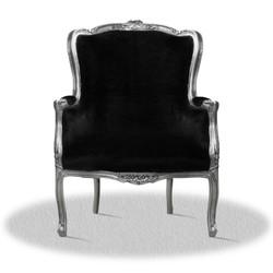 Casa Padrino baroque armchair silver black 70 x 65 x H. 100 cm