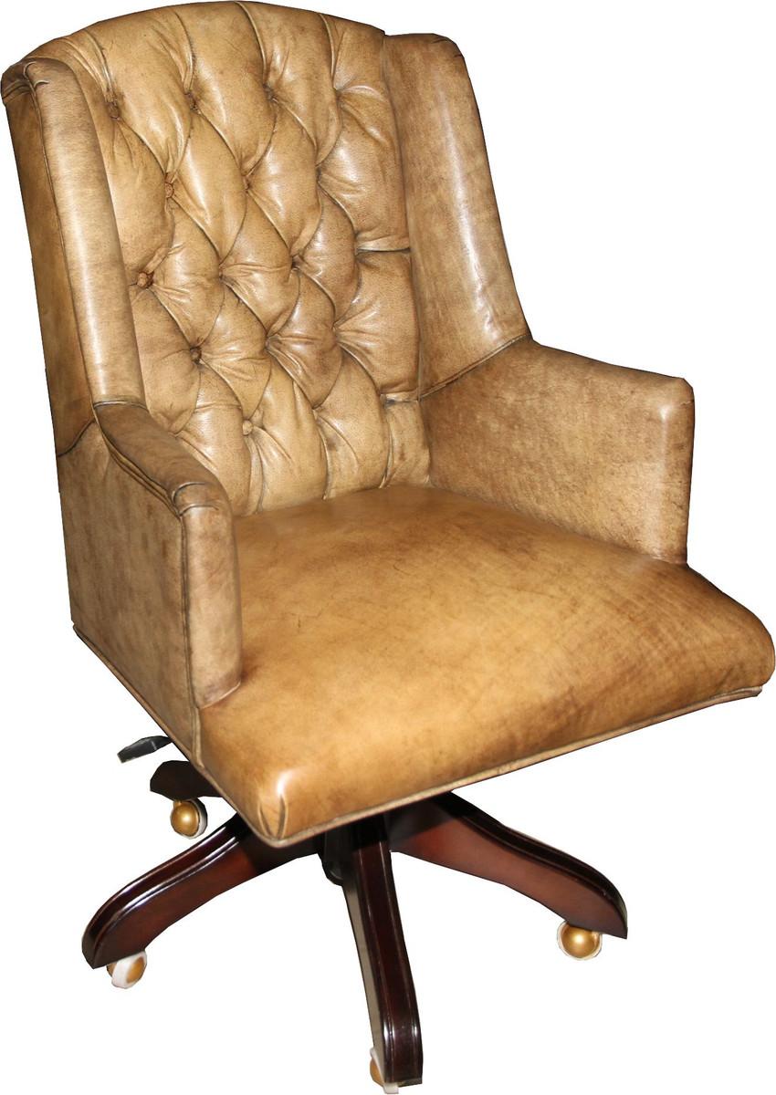 casa padrino luxus echtleder chefsessel b ro stuhl hellbraun drehstuhl schreibtisch stuhl. Black Bedroom Furniture Sets. Home Design Ideas