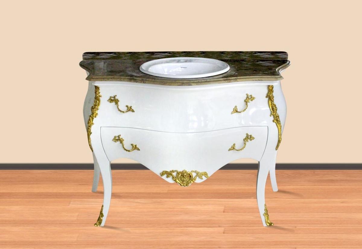 Casa Padrino Luxus Barock Waschtisch Weiß / Gold mit cremefarbener ...