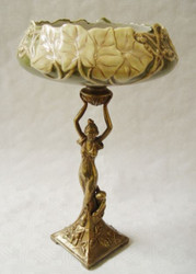 Casa Padrino luxury baroque porcelain brass shell on base H. 33.5 cm