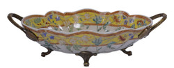 Casa Padrino luxury baroque porcelain shell with 2 brass handles 33.8 x 19.1 x H. 9.8 cm