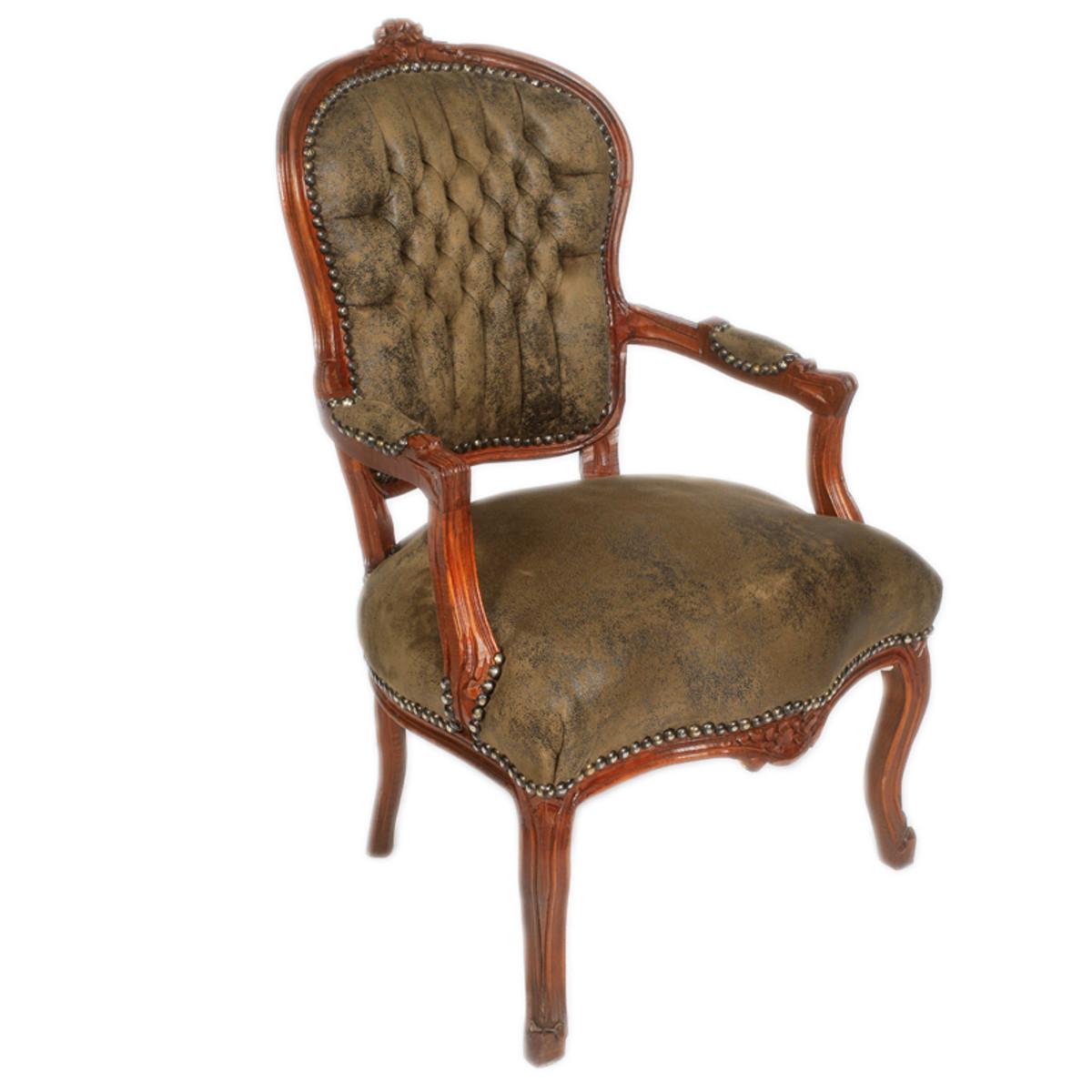 casa padrino barock salon stuhl braun lederoptik braun m bel antik stil st hle barock st hle. Black Bedroom Furniture Sets. Home Design Ideas