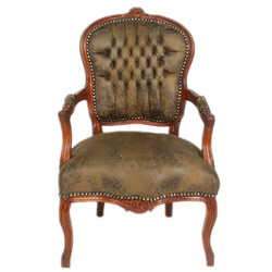 Casa Padrino Baroque Salon Chair Brown leather look / Brown - Antique style furniture