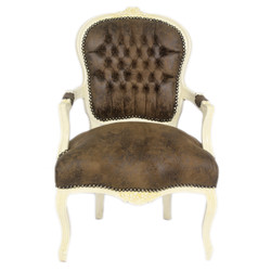 Casa Padrino Baroque Salon Chair Brown leather look / Cream - Antique style furniture