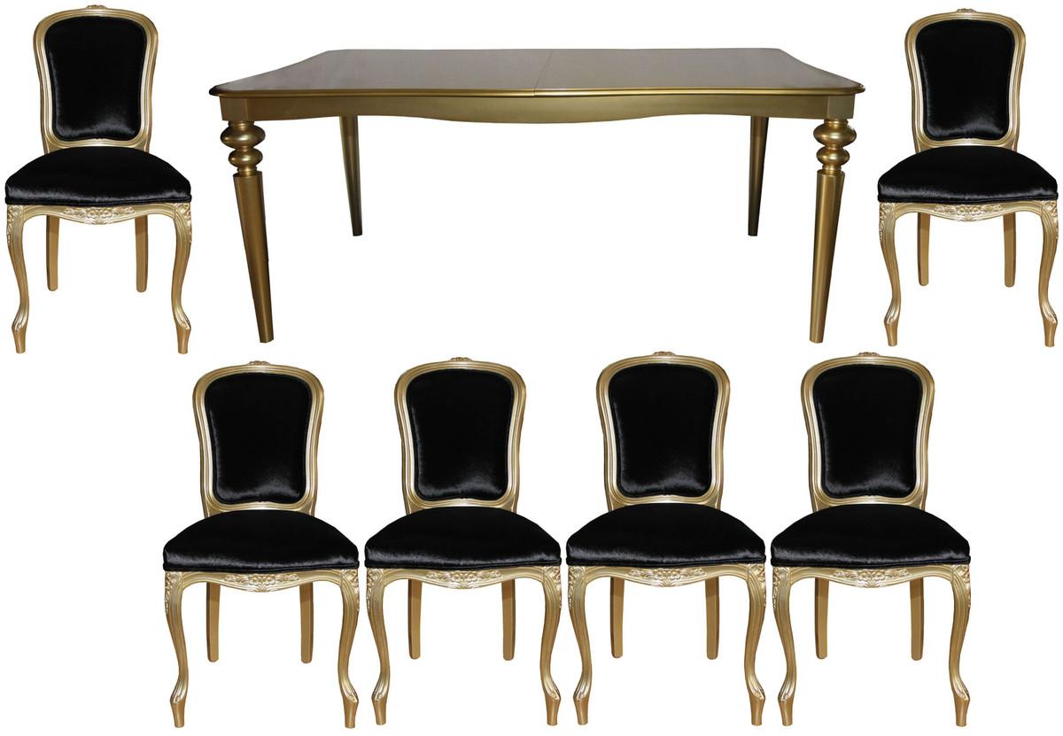 Casa Padrino Barock Luxus Esszimmer Set Schwarz/Gold   Esstisch + 6 Stühle    Möbel Antik Stil   Luxus Qualität   Limited Edition