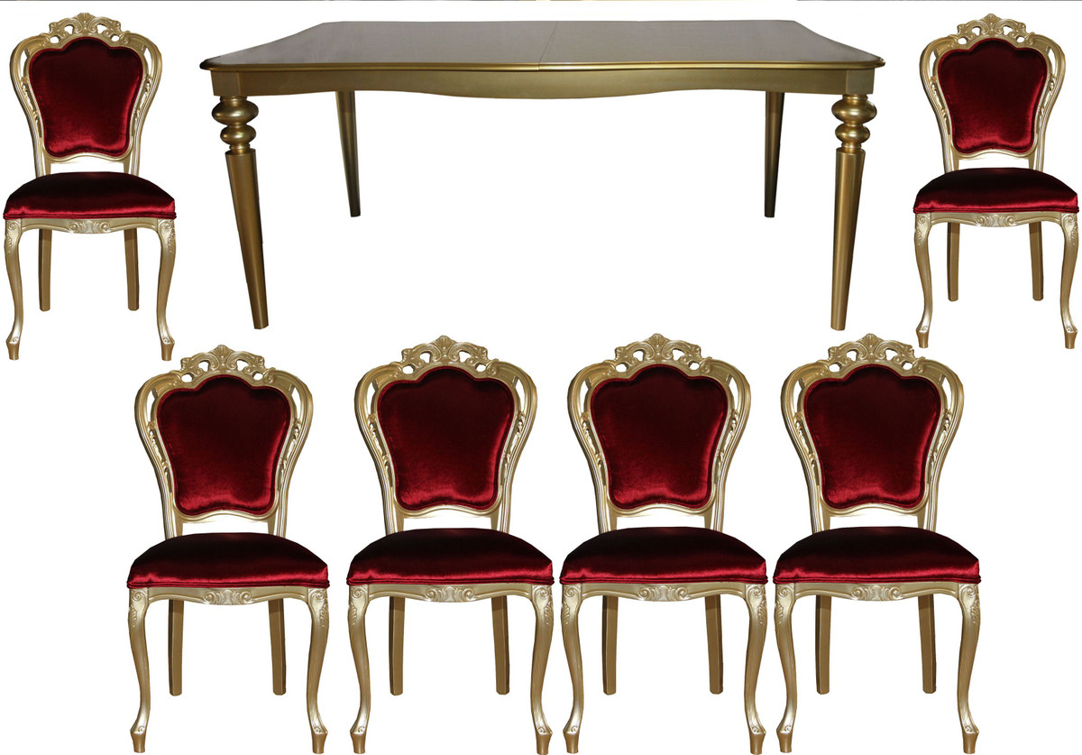 Casa Padrino Barock Luxus Esszimmer Set Bordeauxgold Esstisch 6