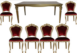 Casa Padrino Baroque Luxury Dining Room Set Bordeaux / Gold - Dining Table + 6 Chairs - Antique Style Furniture - Luxury Quality - Limited Edition