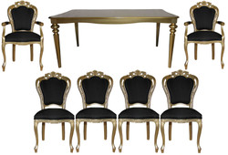 Casa Padrino Baroque Luxury Dining Room Set Black / Gold - Baroque Dining Table + 6 Chairs - Luxury Quality - Limited Edition