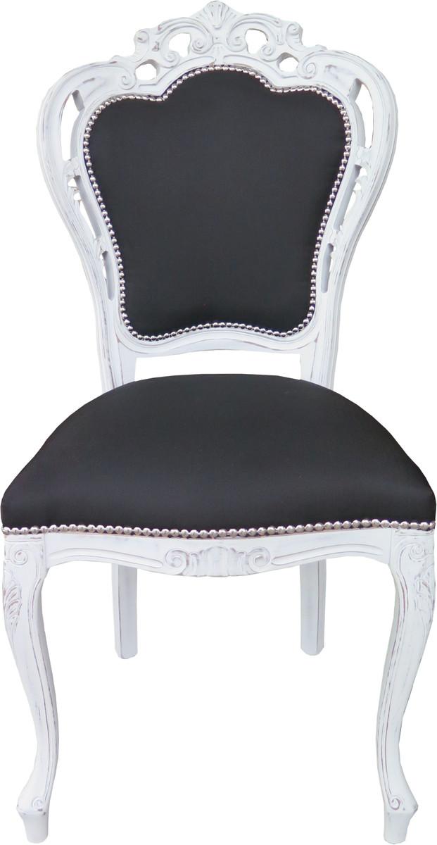 Casa Padrino Barock Esszimmer Stuhl Ohne Armlehnen Schwarz / Antik Weiß   Designer  Stuhl   Luxus Qualität