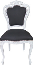 Casa Padrino Baroque Dinner Chair without armrests Black / White Antik - Designer chair - luxury quality