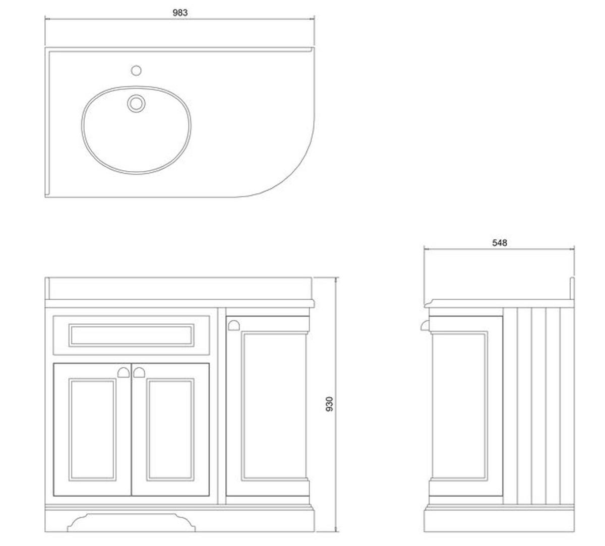 Casa Padrino Waschschrank / Waschtisch mit Marmorplatte und 3 Türen - Antik Stil Möbel 4