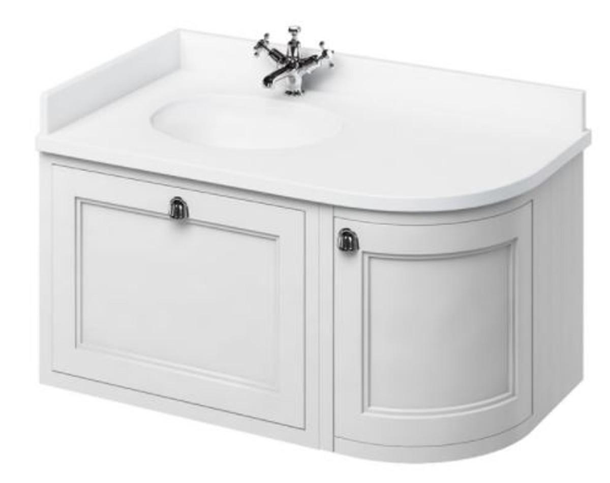 Casa Padrino Hänge-Waschschrank mit Marmorplatte Schublade und Tür - Luxus Waschtisch 3