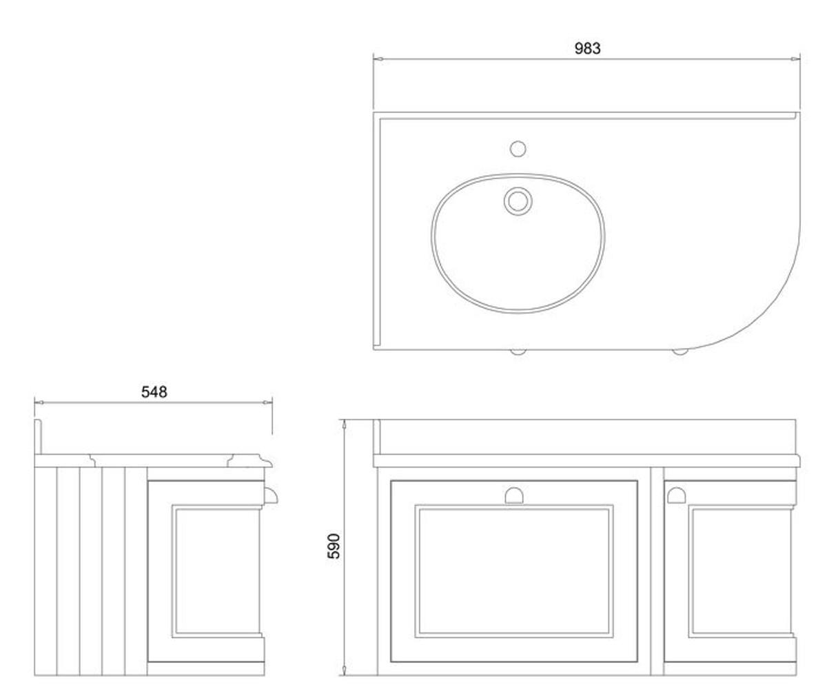 Casa Padrino Hänge-Waschschrank mit Marmorplatte Schublade und Tür - Luxus Waschtisch 4