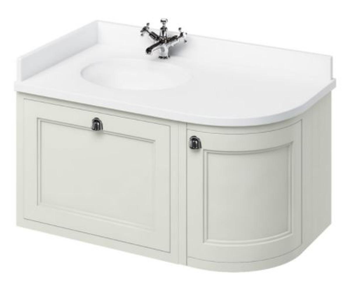 Casa Padrino Hänge-Waschschrank mit Marmorplatte Schublade und Tür - Luxus Waschtisch 2