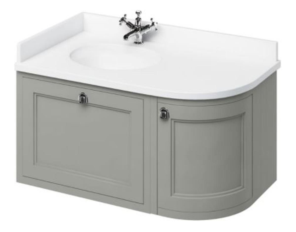 Casa Padrino Hänge-Waschschrank mit Marmorplatte Schublade und Tür - Luxus Waschtisch 1