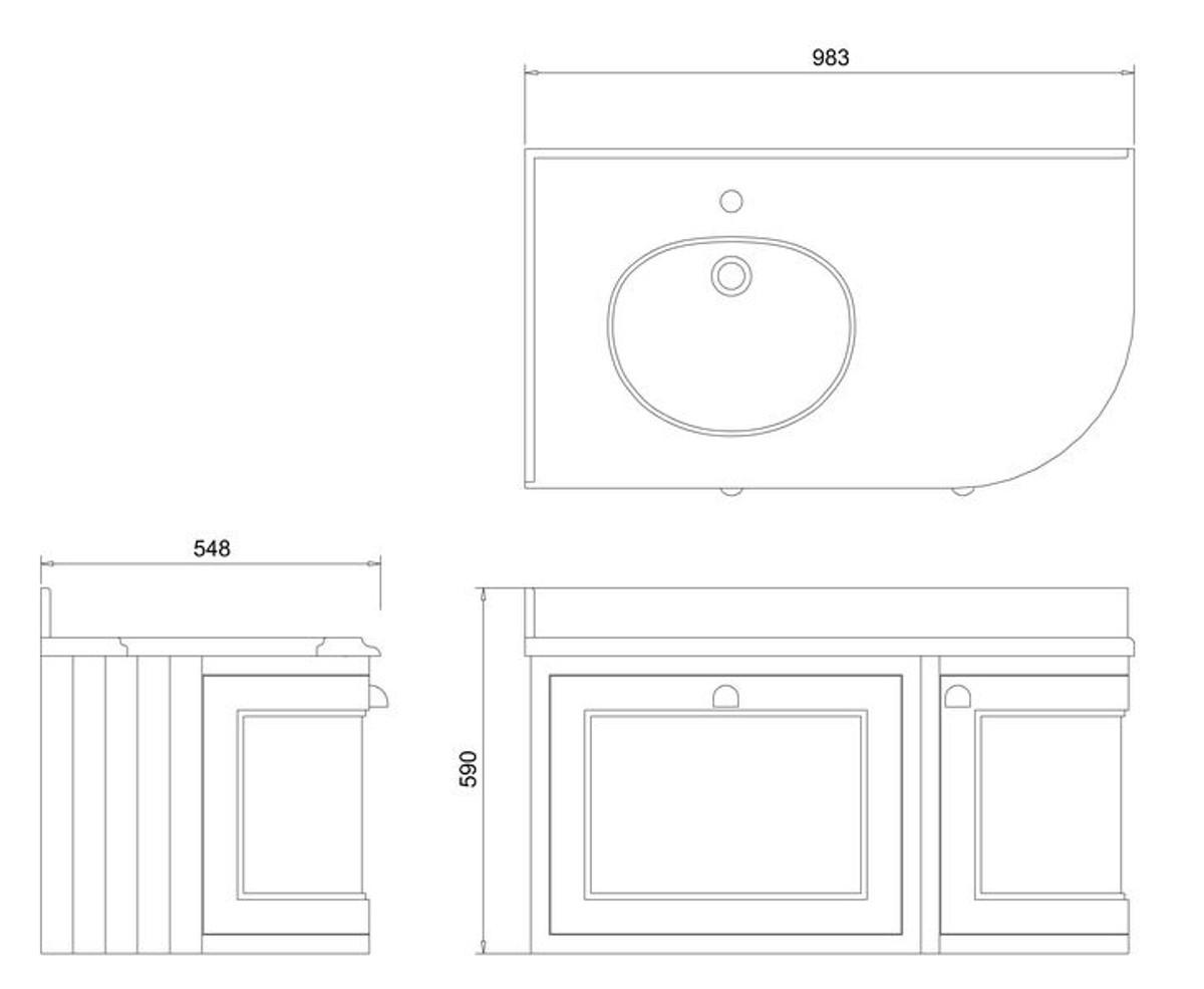 Casa Padrino Hänge-Waschschrank / Waschtisch mit Granitplatte Schublade und Tür 98 x 55 x H. 59 cm 4