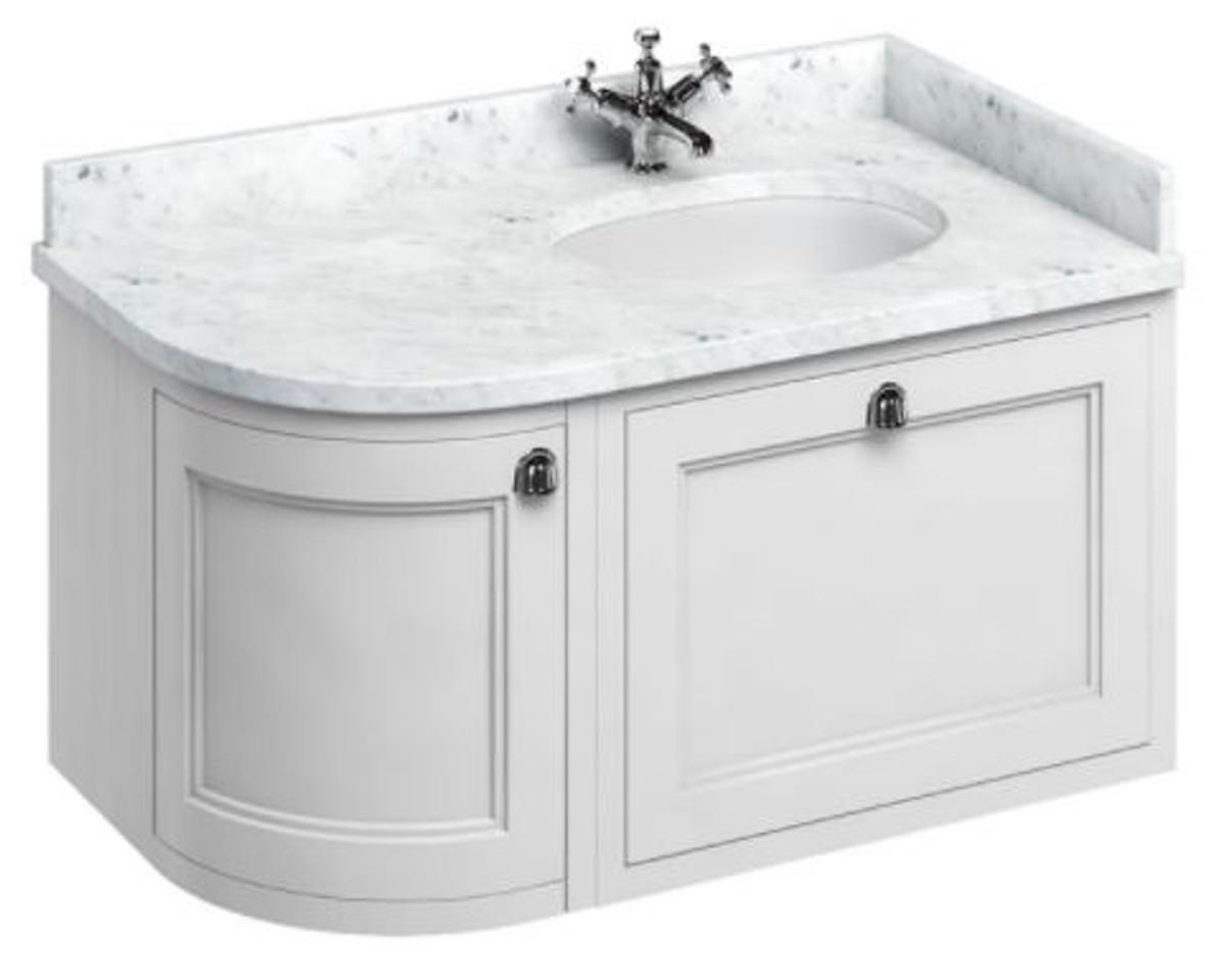 Casa Padrino Luxus Hänge-Waschschrank / Waschtisch mit Marmorplatte Schublade und Tür - Jugendstil Design 3