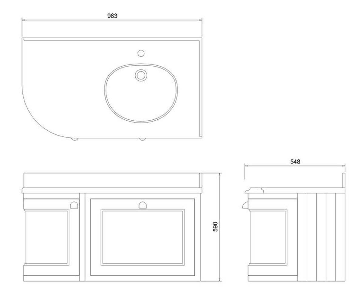 Casa Padrino Luxus Hänge-Waschschrank / Waschtisch mit Marmorplatte Schublade und Tür - Jugendstil Design 4