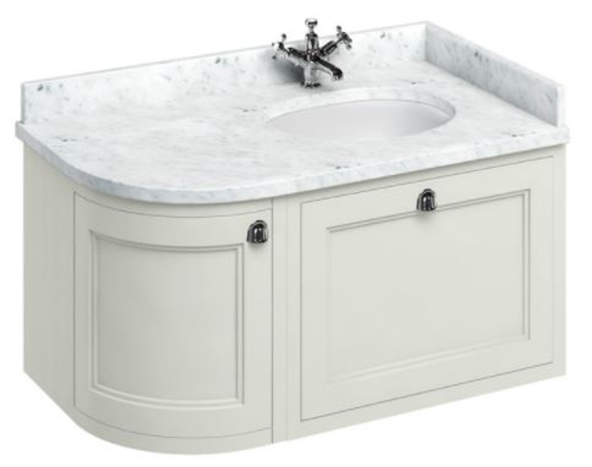Casa Padrino Luxus Hänge-Waschschrank / Waschtisch mit Marmorplatte Schublade und Tür - Jugendstil Design 1