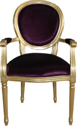 Casa Padrino Baroque Luxury Dining Room Chair with Armrests Purple / Gold - Designer Chair - Luxury Quality - Limited Edition