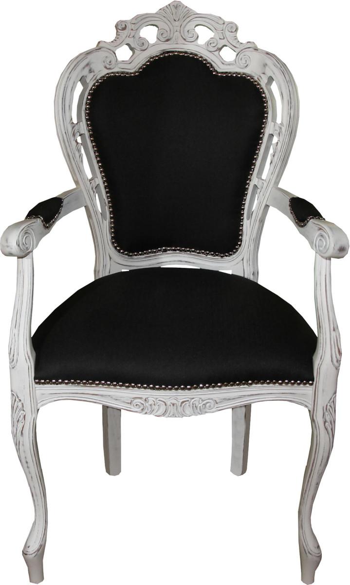 casa padrino barock esszimmer stuhl mit armlehnen schwarz antik weiss designer stuhl luxus. Black Bedroom Furniture Sets. Home Design Ideas