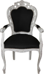 Casa Padrino Baroque Dinner Chair with armrests Black / antique white - Designer chair - luxury quality