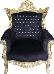 Casa Padrino Baroque Armchair Al Capone Black-Gold with Bling Bling Glittering