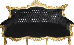 Casa Padrino Barock 3-er Sofa Master Schwarz/Gold mit Bling Bling Glitzersteinen - Wohnzimmer Möbel Couch Lounge