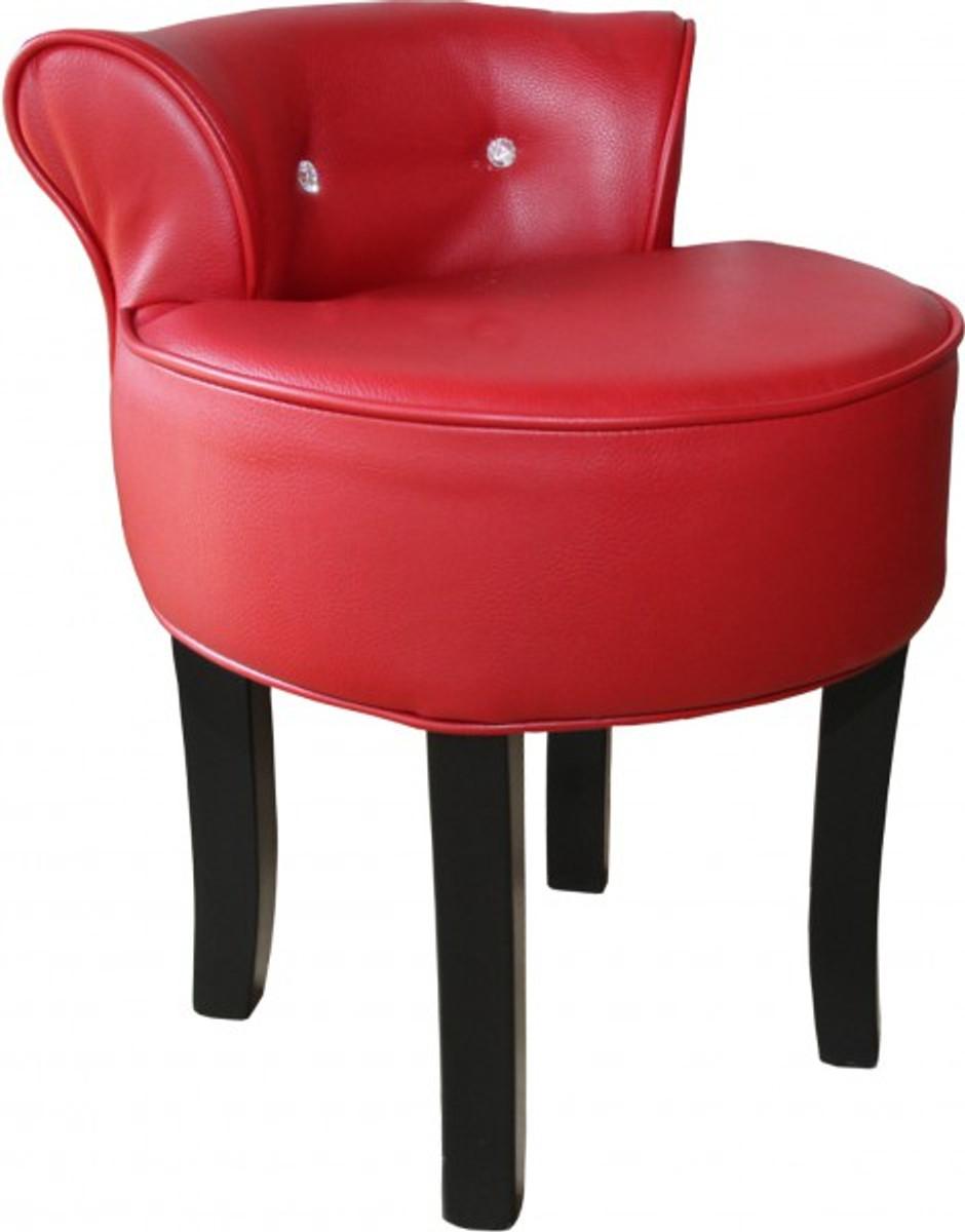 Casa Padrino Designer Hocker Boston Bordeaux Rot Schwarz Mit Bling Bling Steinen Barock Schminktisch Stuhl Barockgrosshandel De