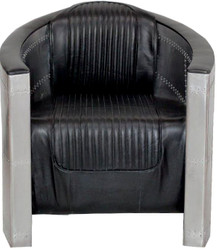 Casa Padrino Art Deco aluminum armchair real leather black - Club armchair - Lounge chair - Airplane flight furniture