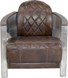 Casa Padrino Art Deco aluminum armchair real leather brown - Club armchair - Lounge chair - Airplane flight furniture