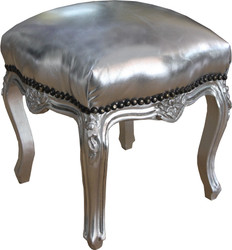 Casa Padrino baroque seat stool silver / silver height 40 cm, width 35 cm - baroque furniture