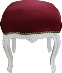Casa Padrino baroque seat stool red / gold height 40 cm, width 35 cm - baroque furniture