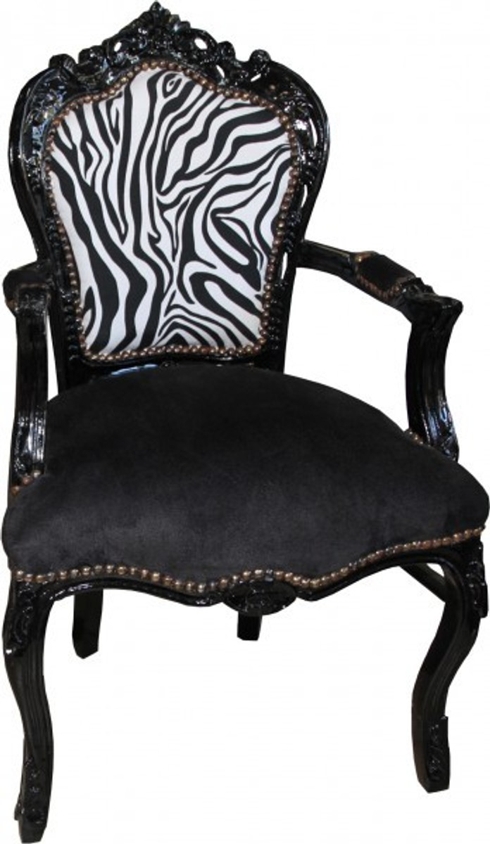 Casa padrino baroque dining chair black zebra black for Stuhl zebra design