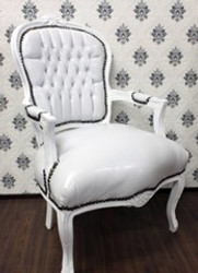 Casa Padrino Baroque Salon Chair White / White Leather furniture