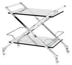 Casa Padrino luxury bar trolley serving trolley stainless steel / glass 77x48 x H. 76 cm - luxury hotel & restaurant furniture
